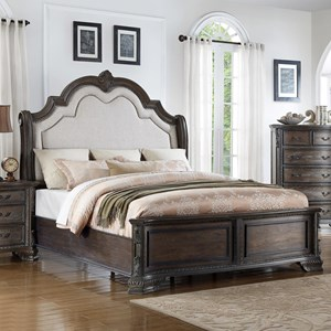 Queen Panel Bed with Upholstered Headboard and Nailhead Trim