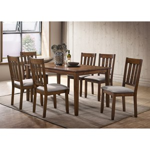 7 Piece Rustic Table and Upholstered Chair Set