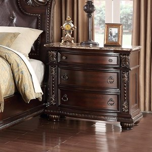 Traditional Nightstand with Marble Top