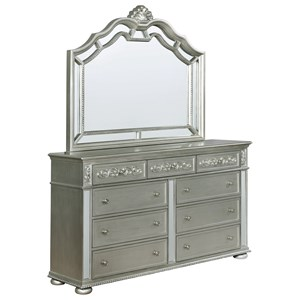 Glam 9 Drawer Dresser and Mirror Set