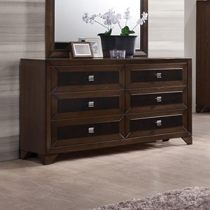 Contemporary Six Drawer Dresser