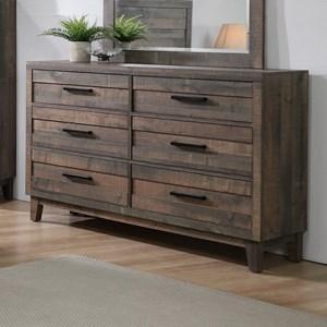 Rustic 6-Drawer Dresser