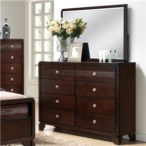 Dresser and Mirror Set with Clipped Corners