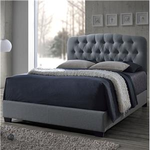 Grey Queen Upholstered Bed