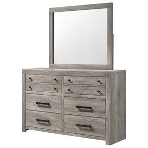Relaxed Vintage Dresser and Mirror Set with Six Drawers
