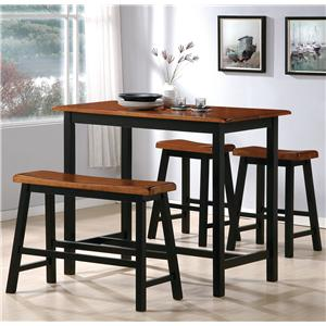 4 Piece Counter Height Table Set with Chairs and Bench