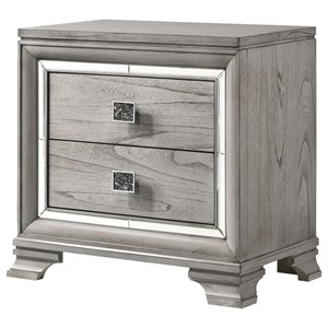 Glam 2-Drawer Nightstand with Mirrored Accents