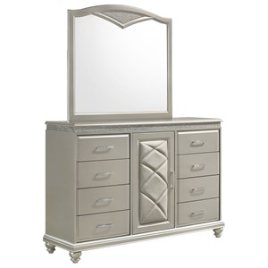 Glam Dresser and Mirror Set with Door and Bun Feet