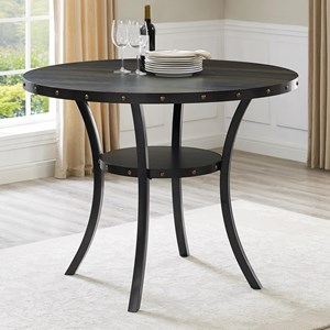 Transitional Counter Height Melamine Table with Nailhead Trim