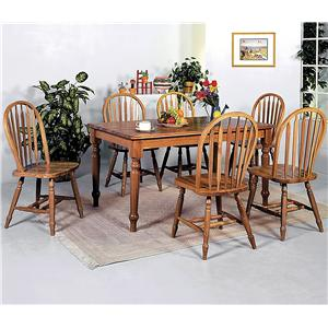 7 Piece Rectangular Leg Dining Table and Side Chairs Set