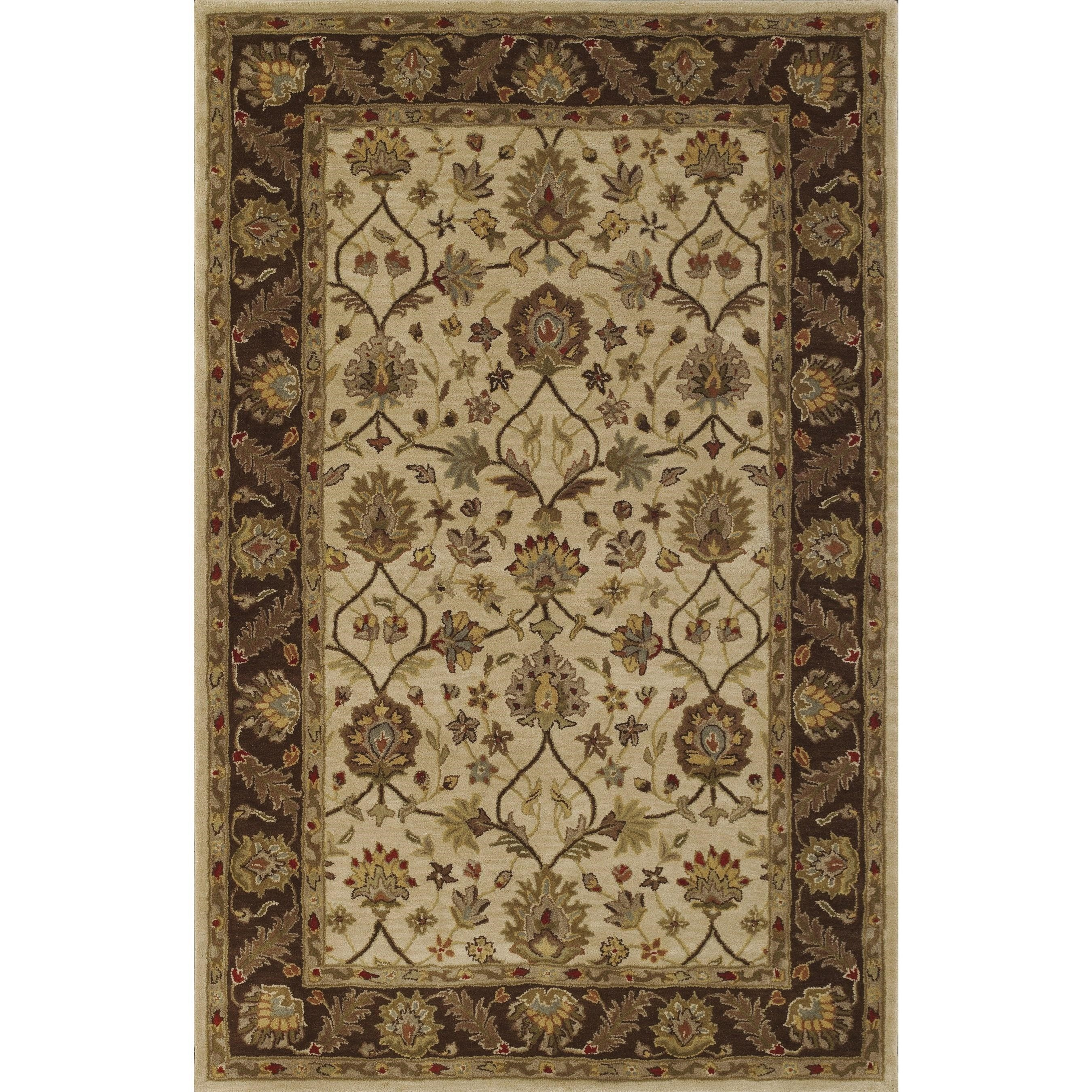 Jewel Ivory/Chocolate 5'X8' Rug by Dalyn at Fashion Furniture