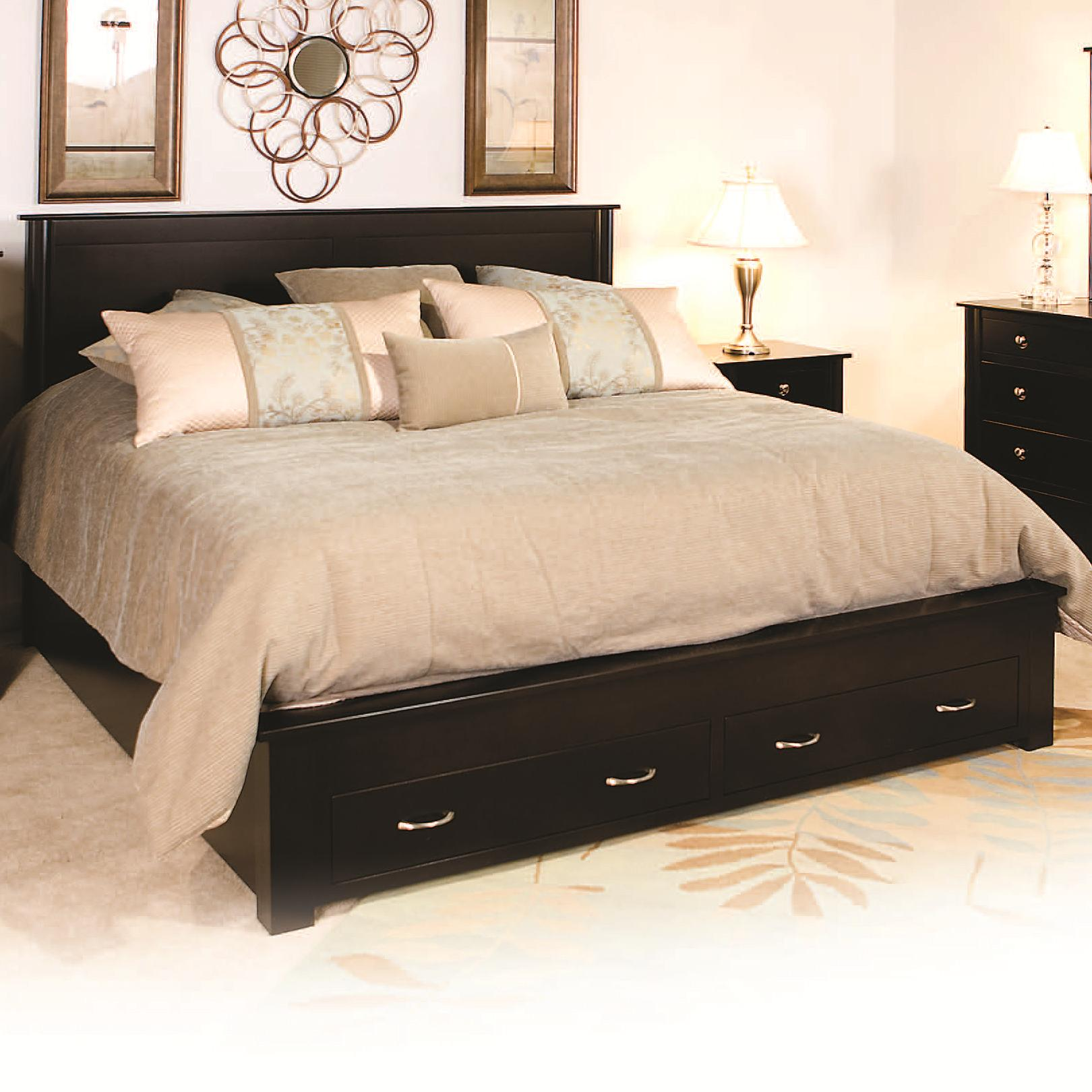 Cosmopolitan Frame Bed with 2 Footboard Drawers by Daniel's Amish at H.L. Stephens