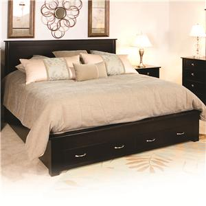 Queen Frame Bed with 2 Footboard Drawers