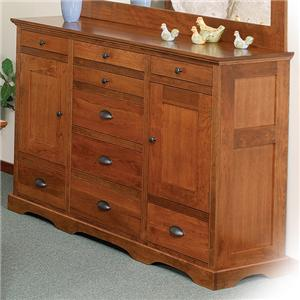 9-Drawer Triple Dresser with 2 Doors