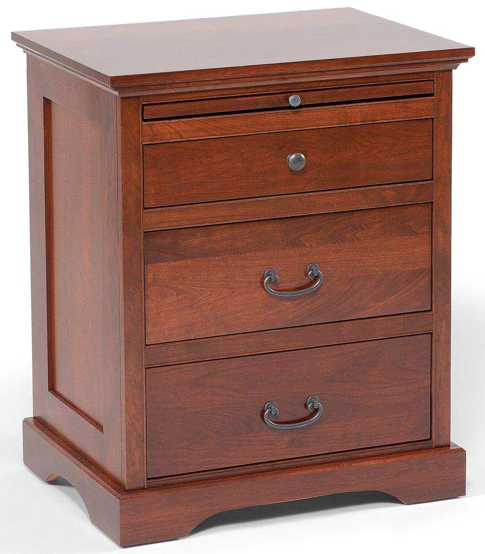 Elegance 3-Drawer Nightstand with Pullout Shelf by Daniel's Amish at Pilgrim Furniture City