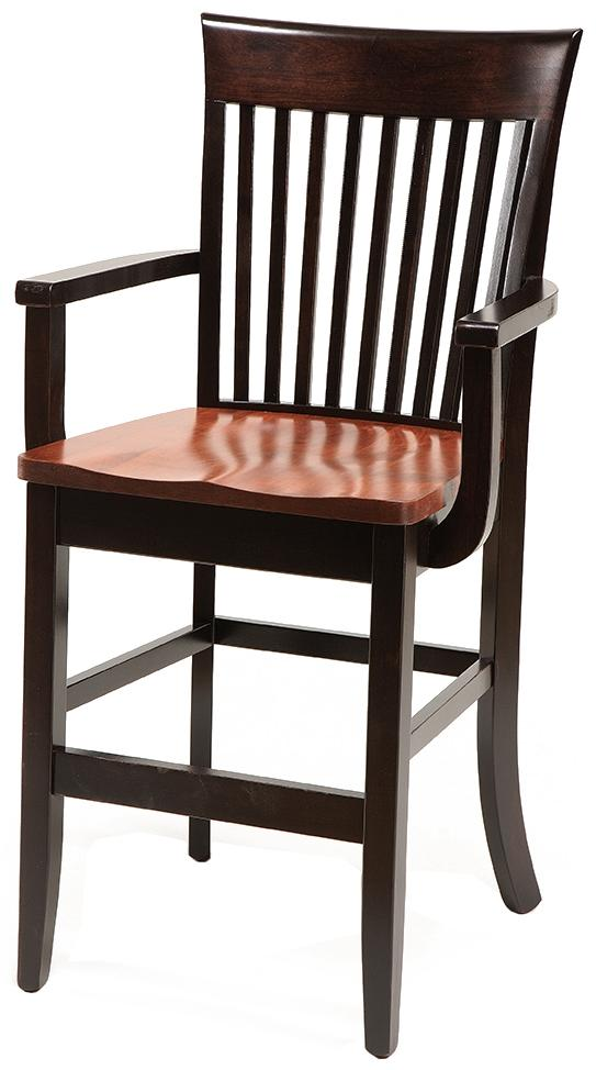 "Carleton Arm Chair 30"" High Stationary Base Stool by Daniel's Amish at Lapeer Furniture & Mattress Center"