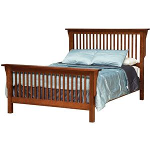 Queen Mission-Style Frame Bed with Headboard & Footboard Slat Detail