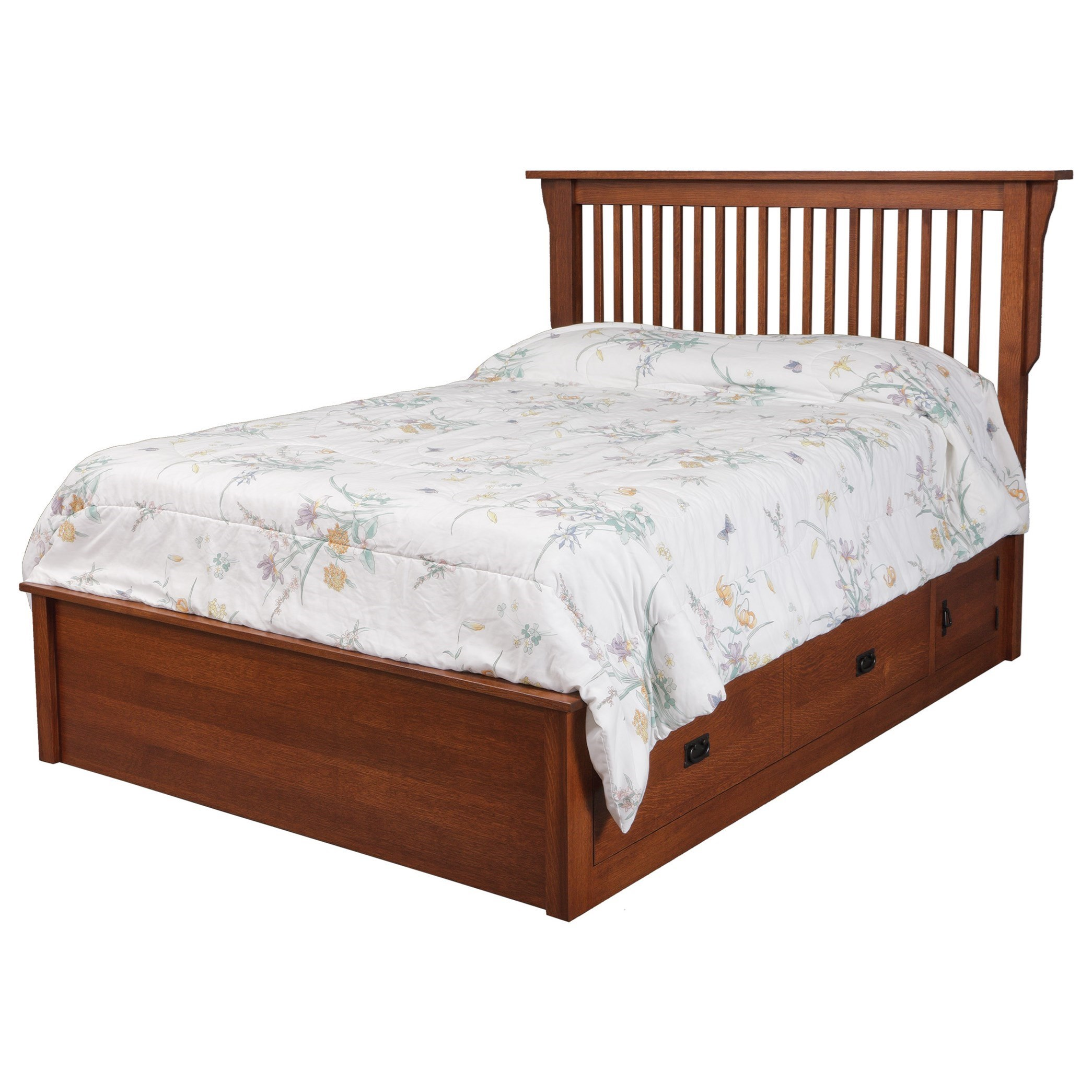 Mission King Pedestal Bed W/ Storage Drawer by Daniel's Amish at Lapeer Furniture & Mattress Center