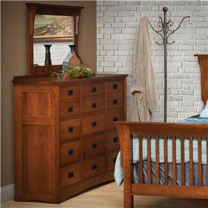 15-Drawer Solid Wood Triple Dresser with 42 X 36 Landscape Mirror