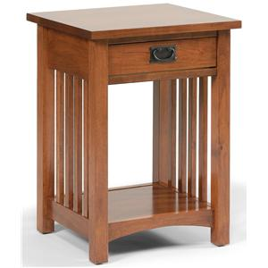 1-Drawer Mission-Style Open Nightstand with 1 Shelf