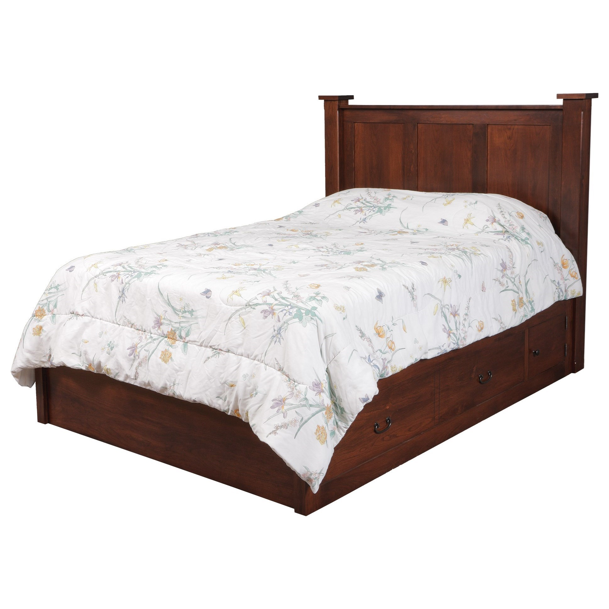 Treasure Queen Pedestal Bed W/ Storage Drawer by Daniel's Amish at Lapeer Furniture & Mattress Center