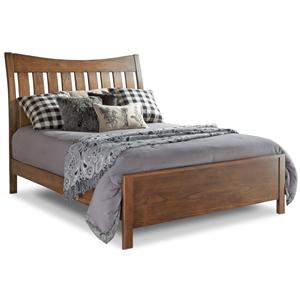 Queen Bed with Slatted Headboard