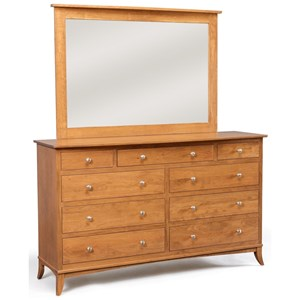 9-Drawer Dresser with Tall Wide Mirror