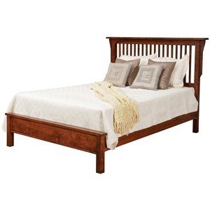Queen Solid Wood Slat Bed with Low Footboard