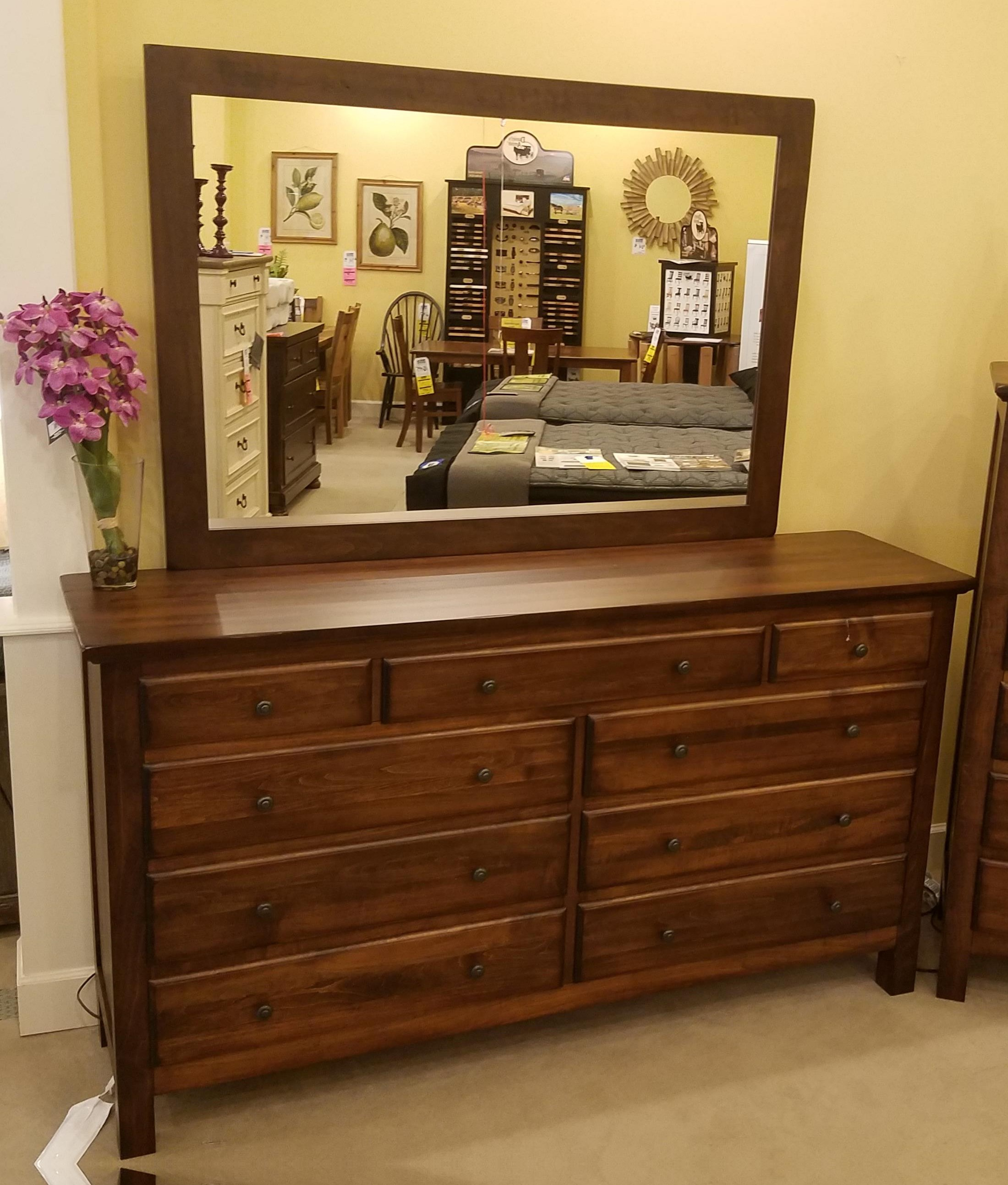 Lewiston Nine Drawer Dresser and Mirror by Daniel's Amish at Rife's Home Furniture