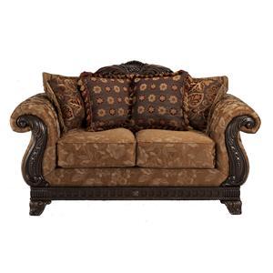 Davis Direct Brandon Brass Intricate Carvings Framing Love Seat BigFurnitureWebsite Love Seat