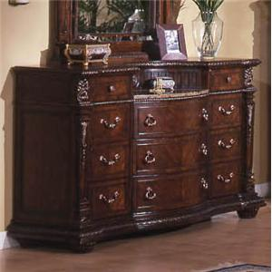 Traditional 11-Drawer Dresser with Laminated Marble Top and Bowed Drawer Fronts