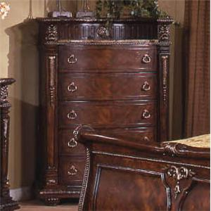 Traditional 5-Drawer Chest with Bowed Drawer Fronts and Laminated Marble Top