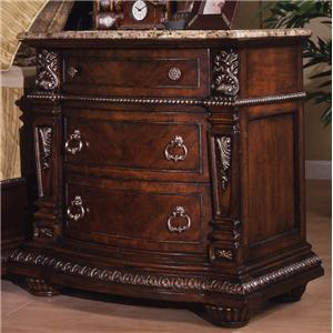Traditional 3-Drawer Night Stand with Laminated Marble Top