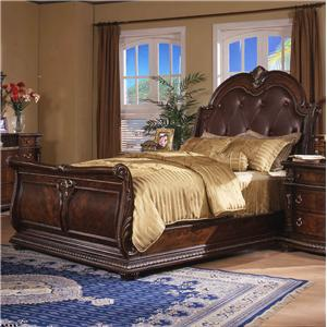 Traditional King Sleigh Bed with Button Tufted Bonded Leather Headboard