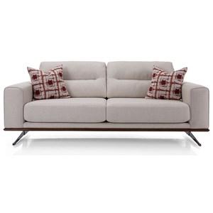 Mid Century Modern 2-Seat Sofa with Metal Legs or Metal Pedestal Base