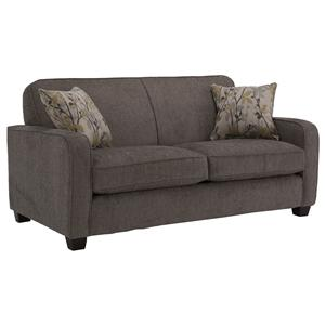 Contemporary Loveseat with Smooth Track Arms and Small Wood Feet