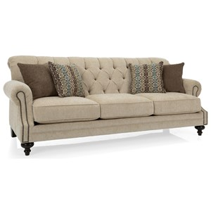 Traditional Tufted Back Sofa with Nailhead Accents