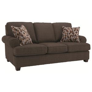 Casual Living Room Furniture Sofa with Smooth Rolled Arms and Toss Pillows
