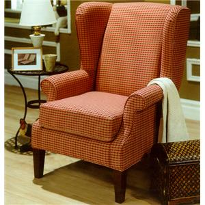Upholstered Wing Chair with Exposed Wood Feet