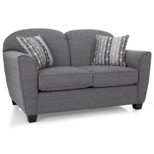 Contemporary Loveseat with Flared Track Arms