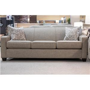 Contemporary Stationary Sofa with Accent Pillows