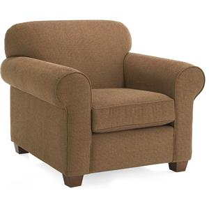 Casual Style Upholstered Chair with Rolled Arms