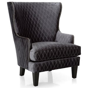 Traditional Wing Back Chair with Nailhead Trim