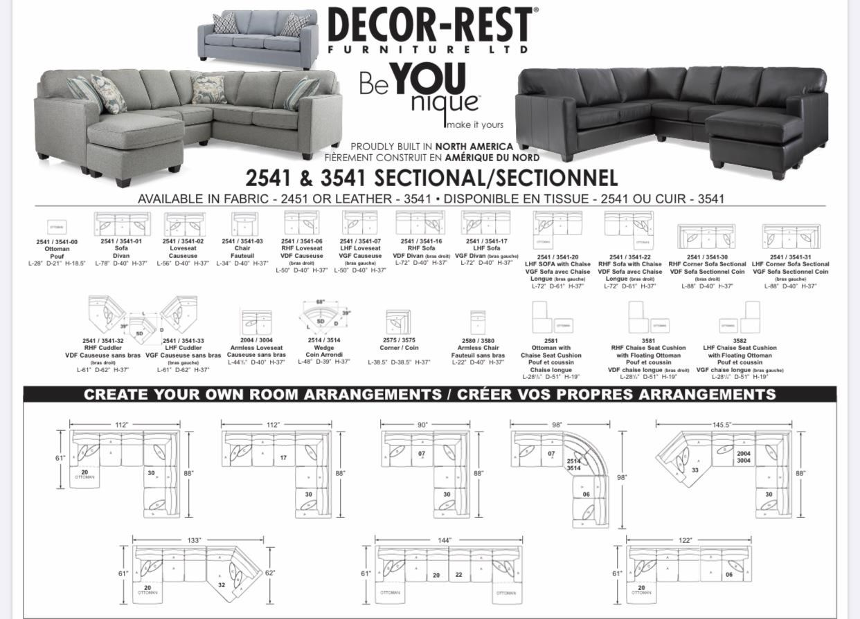 2541 Sectional Sofa by Decor-Rest at Stoney Creek Furniture