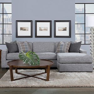 "Contemporary 102"" Chaise Sofa with Block Feet"