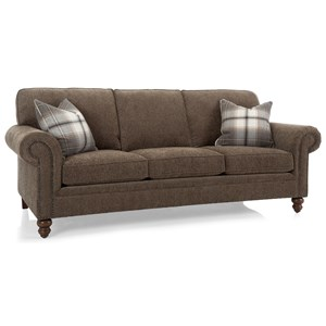 Traditional Sofa with Rolled Panel Arms