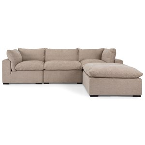 Casual Sectional Sofa with Chaise Ottoman