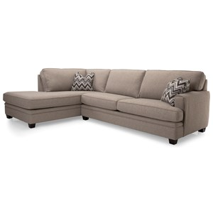 Casual L-Shaped Sectional Sofa with Chaise