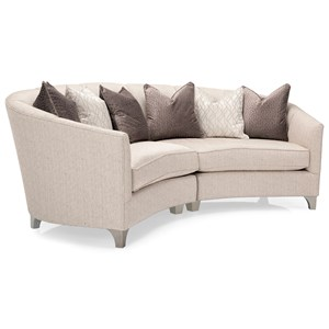 Contemporary Two Piece Curved Tuxedo Sectional Sofa with Scattered Back Pillows