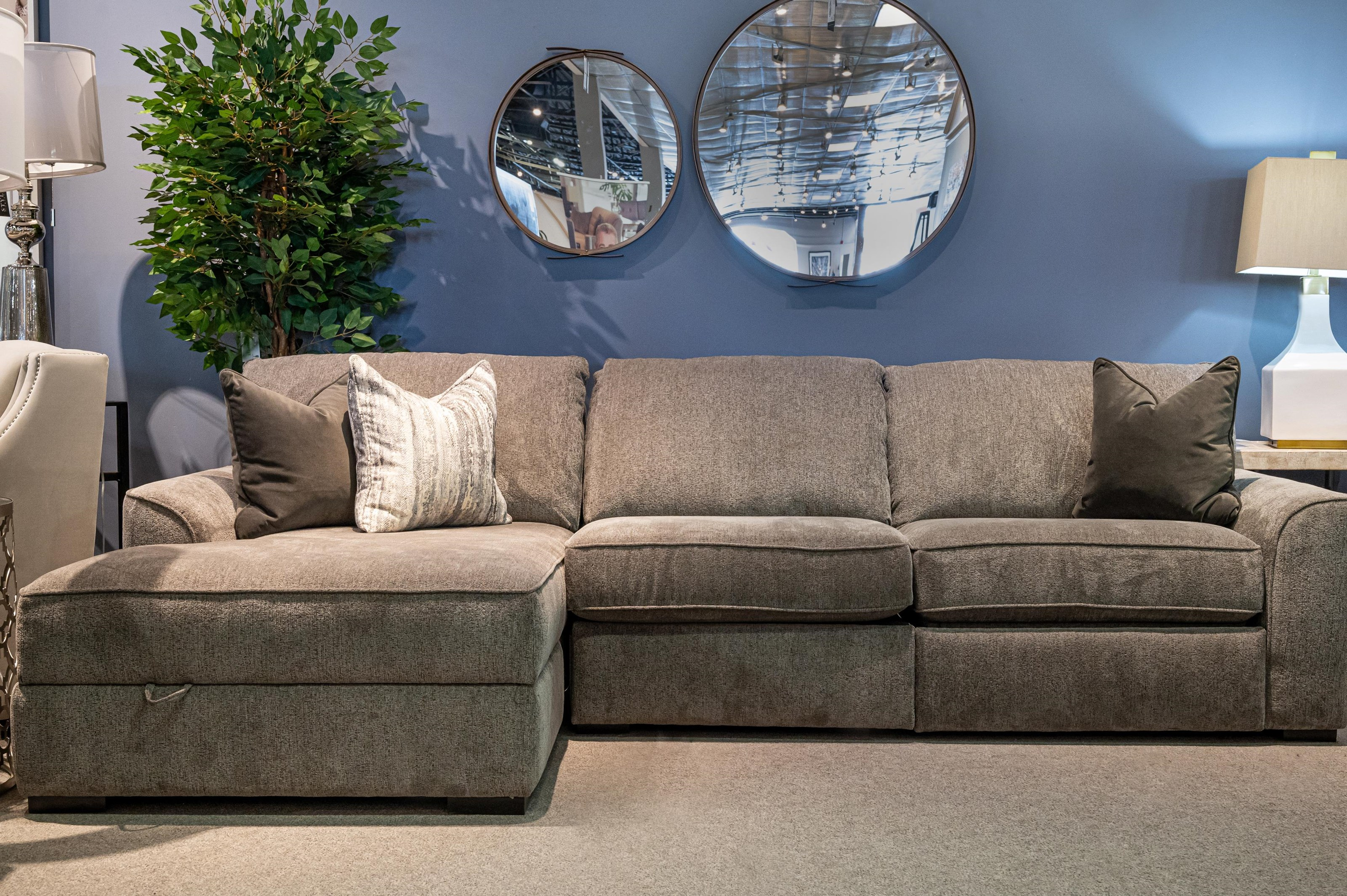 2786 Reclining Sofa Sectional with Chaise by Decor-Rest at Stoney Creek Furniture